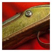 Detail of eighteenth century Irish flintlock Brown Bess musket