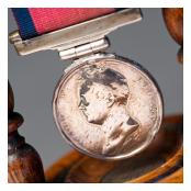 Detail of Waterloo Medal awarded to Ensign John Ditmas