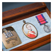 Miniature portrait, Waterloo medal and cross-belt plate of Captain John Millar