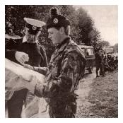1 R IRISH Inner German Border Patrol with British Frontier Service Officer.