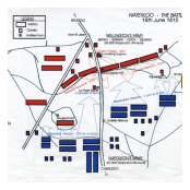 A map showing the Waterloo battlefield