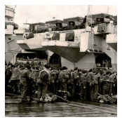 Embarking on HMS Triumph for passage to Mombasa