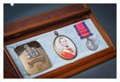 Miniature portrait, Waterloo medal and cross-belt plate of Captain John Millar