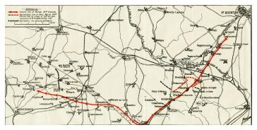Route of 36th (Ulster) Division during Retreat of March 1918.