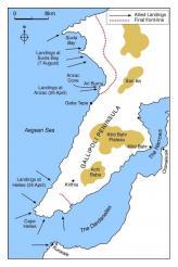 The Gallipoli Peninsula showing landing points