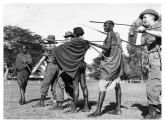Masai tribesmen and Inniskillings try each others weapons