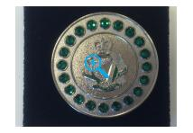 Brooch Gem- Royal Irish Regiment - Green Stones