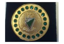 Brooch Gem- Royal Irish Rangers - Green Stones
