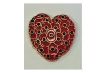 Lapel Badge - Poppy Hearts
